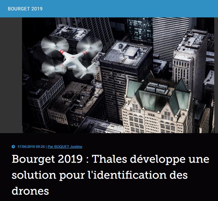 Bourget 2019 : Thales développe une solution pour l'identification des drones