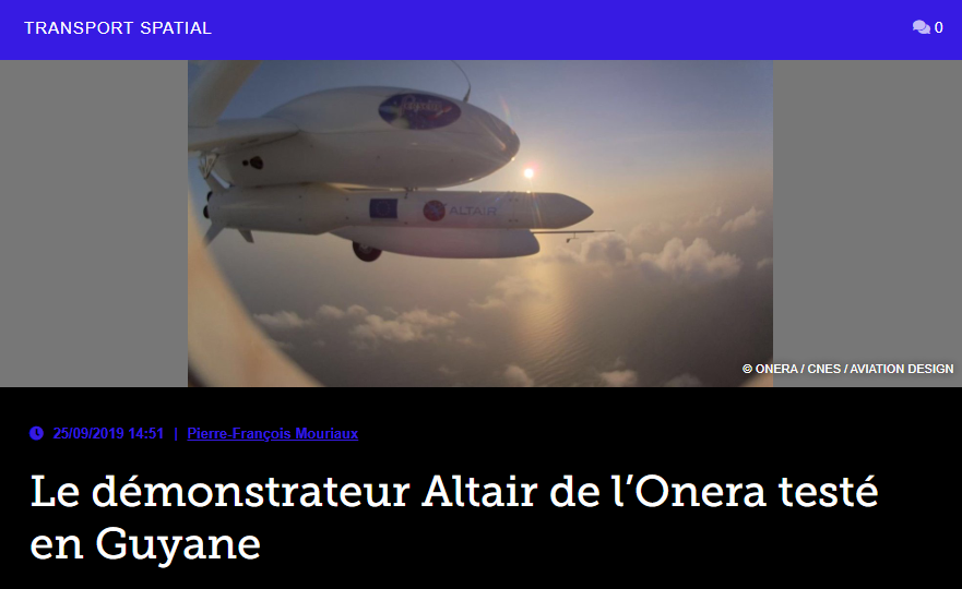 Le démonstrateur Altair de l'Onera testé en Guyane