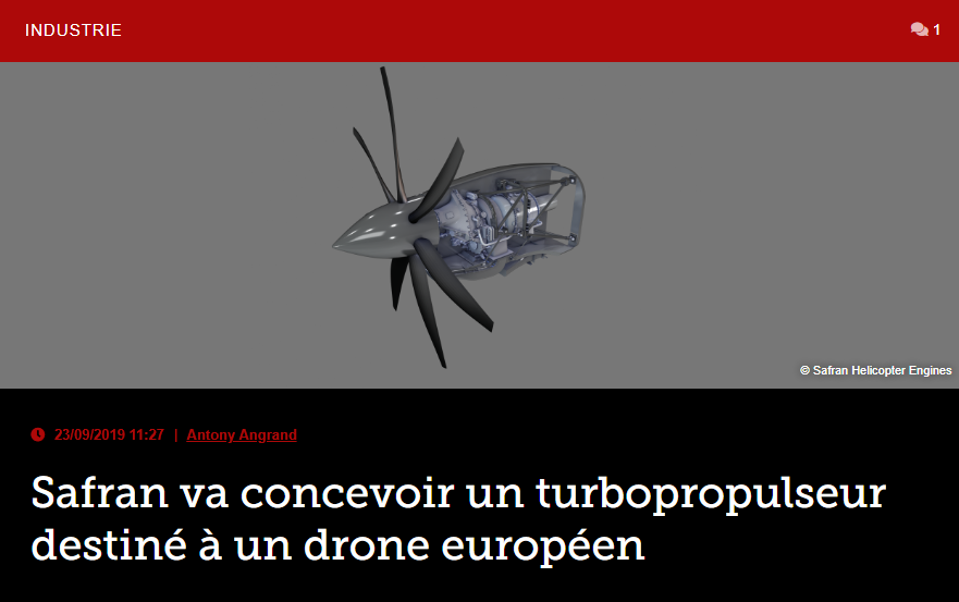 Safran va concevoir un turbopropulseur destiné à un drone européen