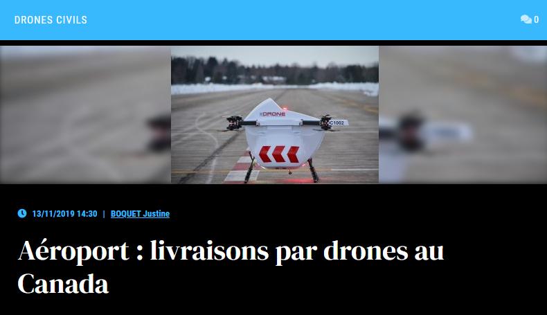 Aéroport : livraisons par drones au Canada