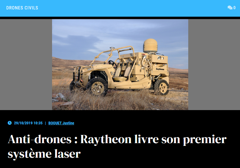 Anti-drones : Raytheon livre son premier système laser